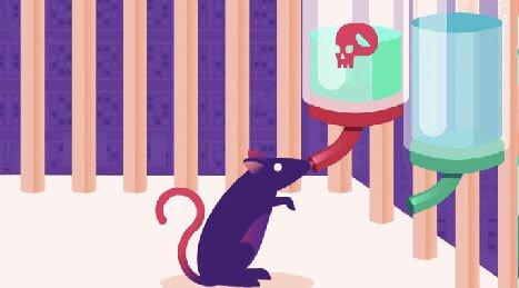 Zeichnung einer Ratte, einer Flasche mit Wasser und einer Flasche mit Drogen im Wasser