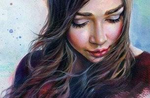 Sich vom Schmerz lösen - Zeichnung einer Frau mit gesenktem Blick