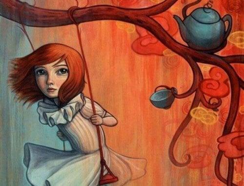 Folgen von sexuellem Missbrauch in der Kindheit - Zeichnung eines nachdenklichen Mädchens, das auf einer Schaukel sitzt