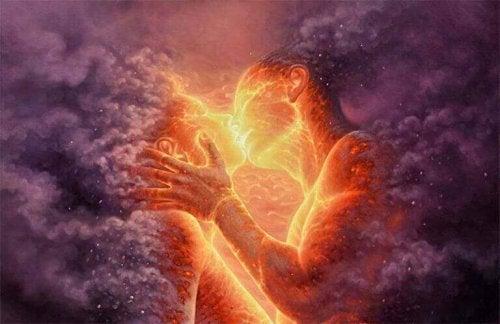 Zeichnung zweier Menschen aus Lava und Rauch, die sich in einem feurigen Kuss begegnen.
