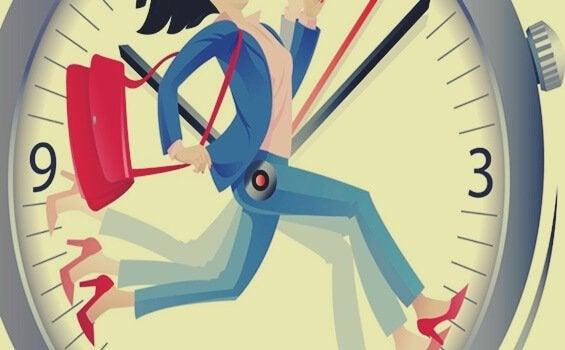 Zeitmanagement-Methoden repräsentiert durch eine Uhr, durch die eine Frau hastet