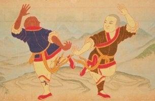 Ein besserer Mensch durch Kampfkunst - altertümliche Darstellung zweier östlicher Kämpfer