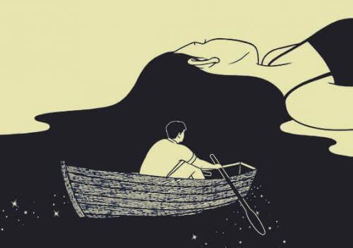 Zeichnung eines Mannes, der in einem Ruderboot auf den Haaren einer Frau fährt
