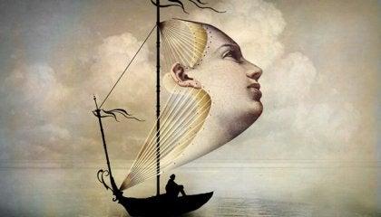 Zeichnung eines Bootes, dessen Segel aus einem Gesicht zu bestehen scheint