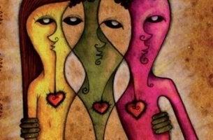 Zeichnung von drei Figuren, die sich umarmen.