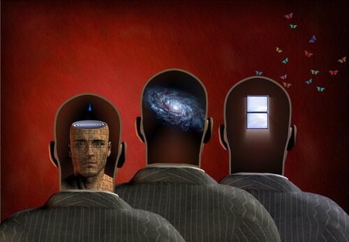 Die vier Stufen der Erinnerung dargestellt durch drei Männer.
