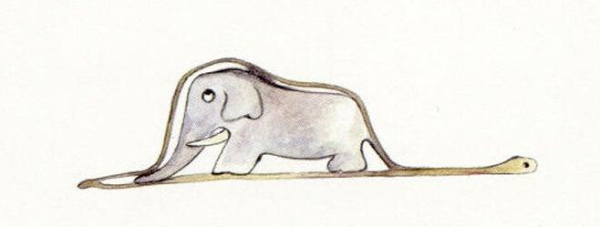 Ein Elefant gemalt im Inneren einer Schlange.