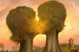 Eine fantastische Malerei zeigt sich küssende Bäume.
