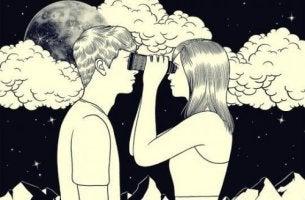 Zeichnung eines Paares, dass sich durch ein Fernglas betrachtet