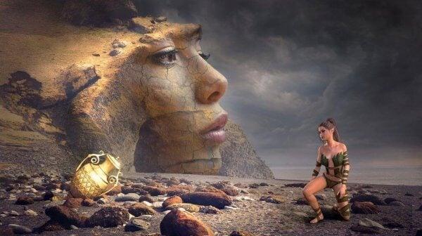 Szene aus einem Computerspiel, in dem eine Frau zu einer Heldenreise aufbricht