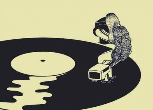 Zeichnung einer Frau, die auf einem Schallplattenspieler sitzt