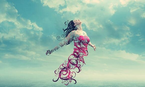 Frau mit pinkem Kleid fliegt in den Himmel