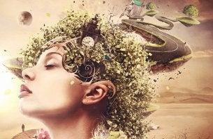 Frau mit Wegen und Natur im Kopf
