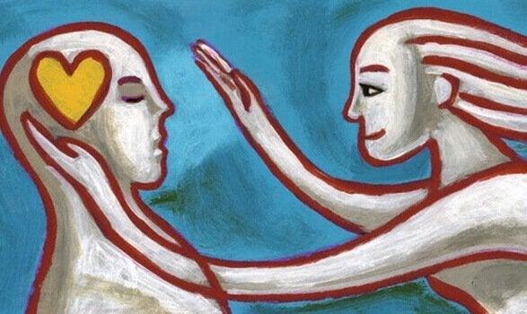 Ein modernes Gemälde zeigt zwei Personen, von denen eine ein Herz im Kopf hat.