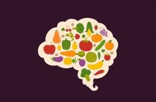 Vitamine für das Gehirn - Gehirn voller Lebensmittel