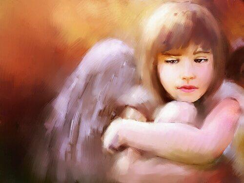 Gemälde eines Mädchens mit Flügeln