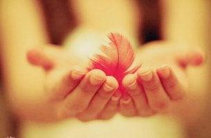Freundlichkeit - Feder in den Händen