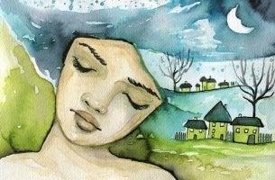 Illustration eines Mädchens mit geschlossenen Augen, das an eine Landschaft denkt