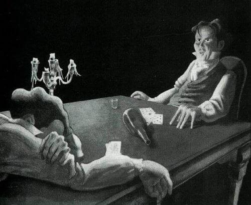 Illustration zweier Männer, die sich gegenübersitzen