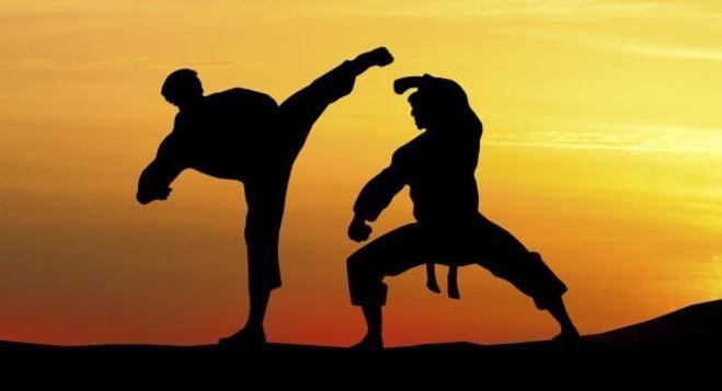 Zwei Silhouetten betreiben Kampfsport im Sonnenuntergang