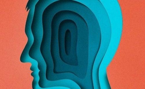 Kopf in blauen Schichten, symbolisch für die Arten von Angst nach Sigmund Freud