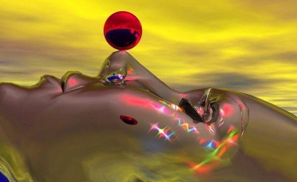 Eine Traumgestalt balanciert eine rote Kugel auf der Nase.