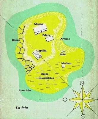 """Eine Landkarte aus """"Morels Erfindung"""""""