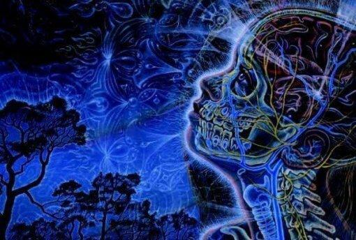 Der Mensch umgeben vom Universum, alles in Blau dargestellt