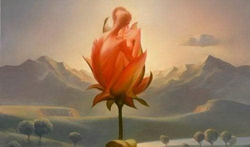 Eine fantastische Malerei zeigt ein sich liebendes Paar in einer Blüte.