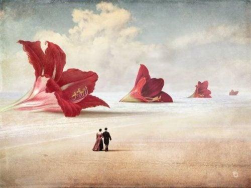 Eine fantastische Malerei zeigt ein Paar bei einem Spaziergang durch eine Wüste mit Blüten.