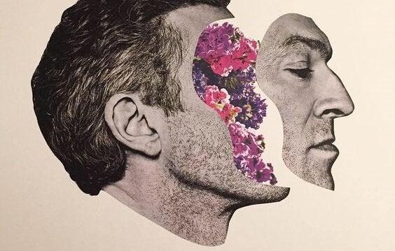 Zeichnung eines Mannes, dessen Gesicht vom Schädel getrennt ist