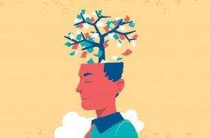 Mann mit einem Baum im Kopf