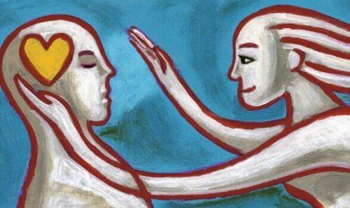 Zeichnung eines Mannes und einer Frau, das Mitgefühl symbolisieren soll