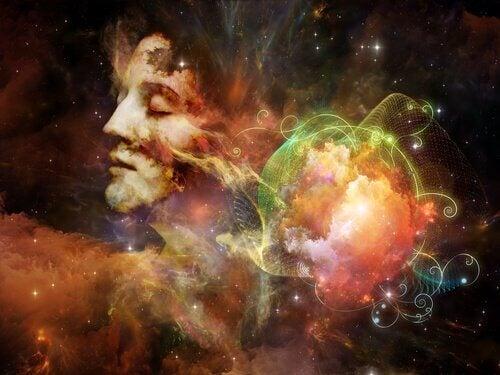 Fantasievolles Bild von bunten Figuren im Sternenhimmel