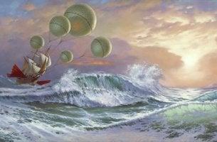 Morels Erfindung - fantastisches Segelschift mit Ballons