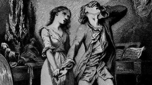 Eine Zeichnung, die ein Paar aus Goethes Stücken darstellt