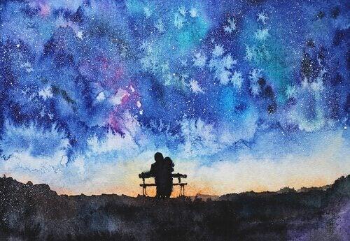 Paar sitzt auf einer Bank