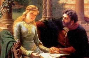 Peter Abélard hält die Hand seiner großen Liebe Héloise.