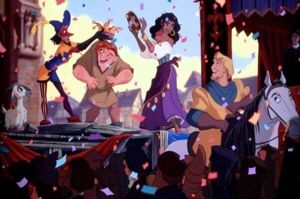 Quasimodo und Esmeralda feiern fröhlich.