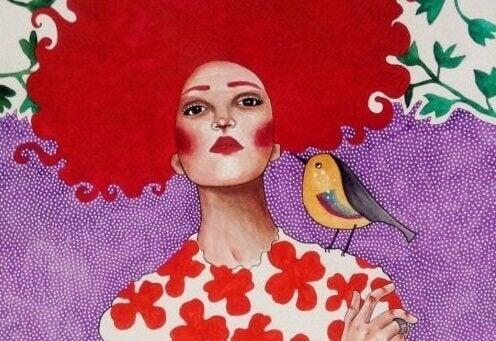 Rothaarige Frau mit Vogel