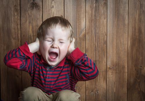 Ein Kind schreit und hält sich die Ohren zu