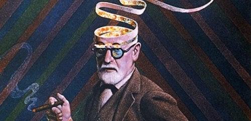 Sigmund Freud entblättert seinen Kopf