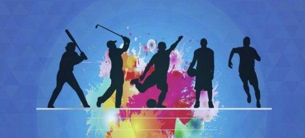 Die Silhouetten verschiedener Sportler