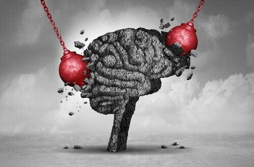 Traumatische Erinnerungen schaden dem Gehirn - Kugeln schlagen in ein Gehirn ein