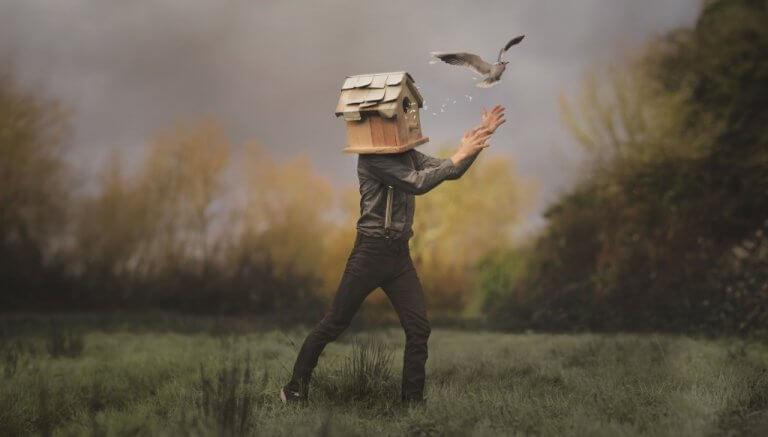 Ein Mann mit einem Vogelhaus um den Kopf versucht, einen Vogel zu fangen