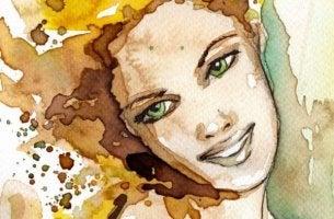 Zeichnung einer lächelnden Frau