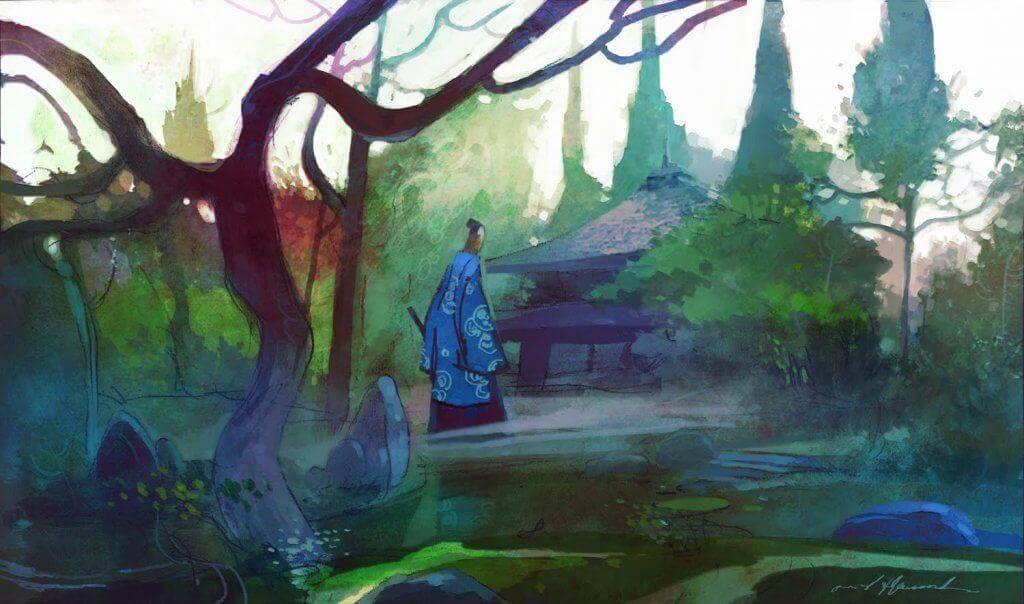 Zen-Meister geht zu seinem Haus im Wald