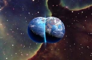Theorie der Paralleluniversen - wwei Planeten verschmelzen miteinander