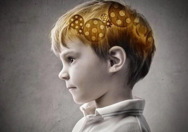 Das Gehirn im Kopf eines Jungen, mit Zahnrädern dargestellt