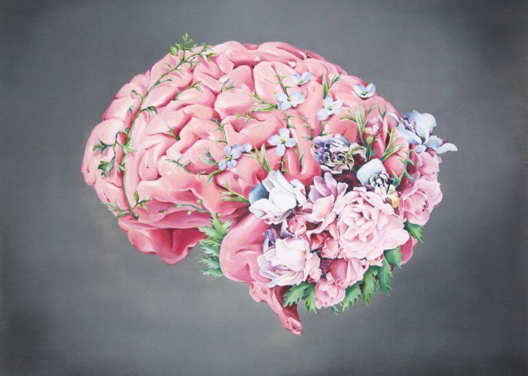 Gehirn umgeben von Blumen